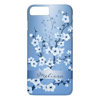 Floral Cherry Blossoms White Blue Monogram iPhone 7 Plus Case