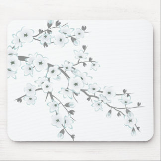 Floral Cherry Blossoms White Choose Background Mouse Pad