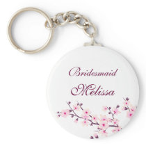 Floral Cherry Blossoms White Pink Keychain