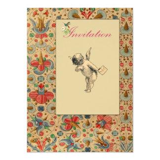 """Floral Cherub Invites 5.5"""" X 7.5"""" Invitation Card"""