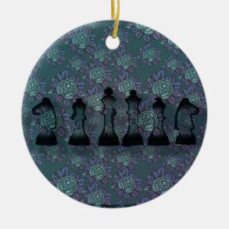 Floral Chess Ceramic Ornament
