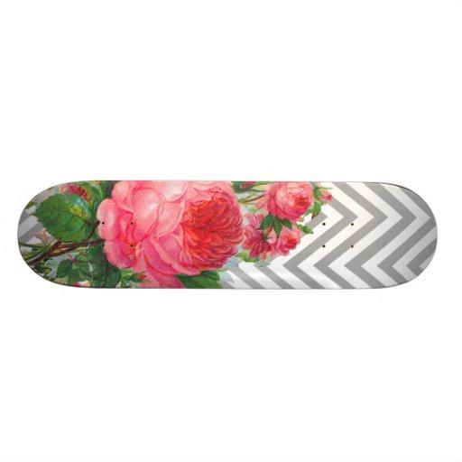 Floral Chevron Pattern Design Skate Board