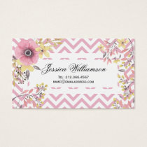 Floral Chevron Pink Spring Blossoms Business Card