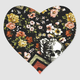 Floral Chevron skull in red and black Heart Sticker