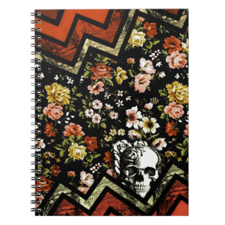 Floral Chevron skull in red and black Spiral Notebook