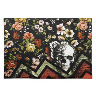 Floral Chevron skull in red and black Placemat