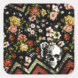 Floral Chevron skull in red and black Square Sticker
