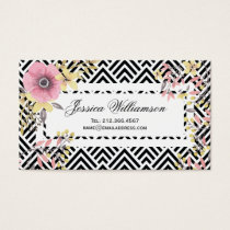 Floral Chevron Spring Blossoms Business Card