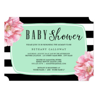 Floral Chic Baby Shower Invitation / Mint