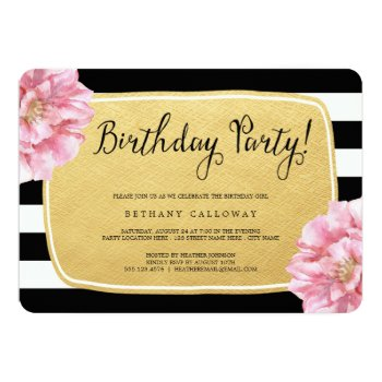 Floral Chic Birthday Invite / Faux Gold Foil by Orabella at Zazzle
