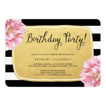birthday Floral Chic Birthday Invite / Faux Gold Foil