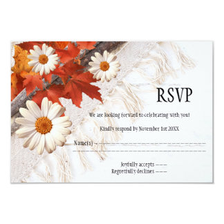 Floral Chic Fall Wedding RSVP Card