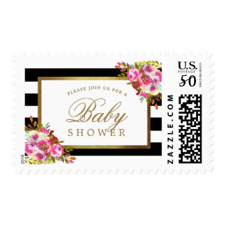 Floral Chic Gold Black White Stripes Baby Shower Postage