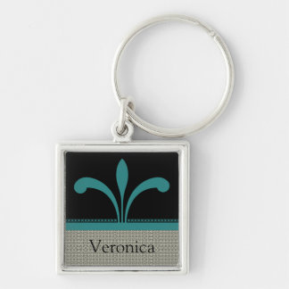 Floral Chic Keychain, Teal Silver-Colored Square Keychain