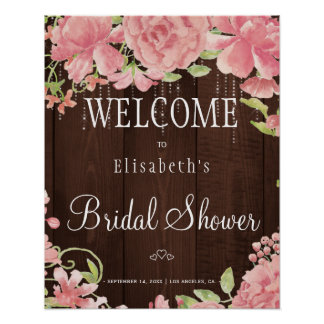 Floral chic lights bridal shower welcome sign