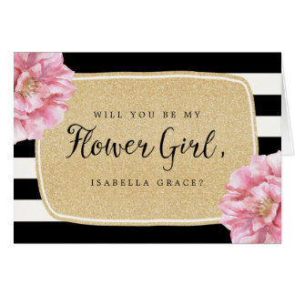 Floral Chic Name Flower Girl Card / Champagne