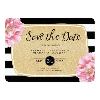 Floral Chic Photo Save the Date Card / Champagne