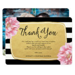 Floral Chic Photo Thank You Card / Gold