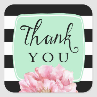 Floral Chic Thank You Stickers / Mint