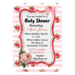 Floral Chic Vintage Roses Baby Shower for Girl Card