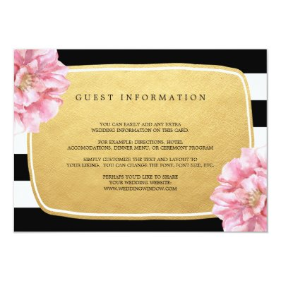 Floral Chic Wedding Insert Card / Gold