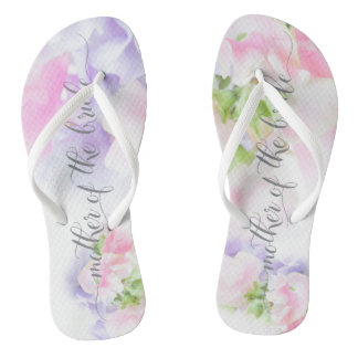 FLORAL CHIC WEDDING SWEET PEAS Bride's Mother Flip Flops