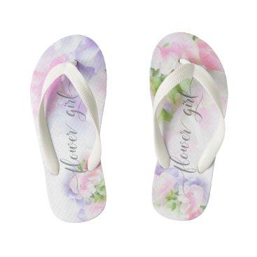 Beach Themed FLORAL CHIC WEDDING SWEET PEAS Flower Girl2 Kid's Flip Flops