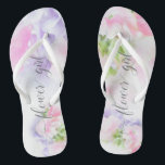 """FLORAL CHIC WEDDING SWEET PEAS Flower Girl Flip Flops<br><div class=""""desc"""">Flower Girl Sandals to match the collection-  Floral Chic Wedding Sweet Peas in pink and lavender with pretty calligraphy and modern fonts</div>"""