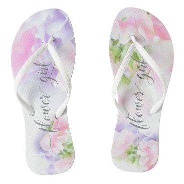 Beach Themed FLORAL CHIC WEDDING SWEET PEAS Flower Girl Flip Flops