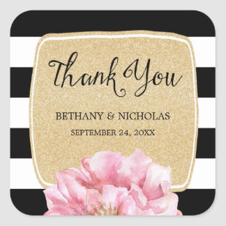 Floral Chic Wedding Thank You Stickers / Champagne