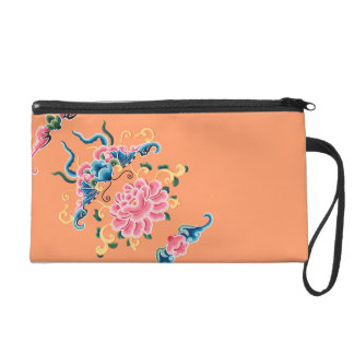 Floral Chinese design Clutch Wristlets