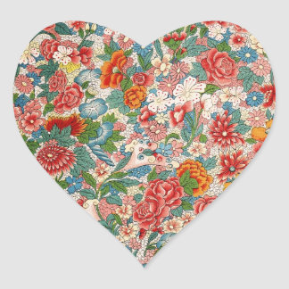 Floral chinese ornament Heart Sticker