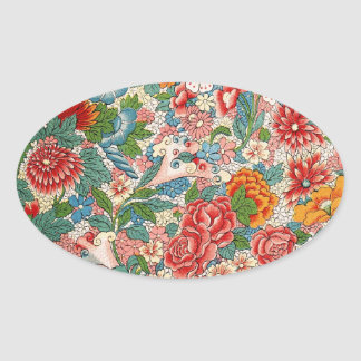 Floral chinese ornament Oval Sticker
