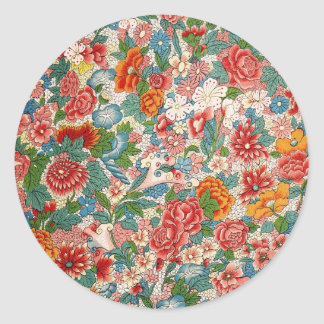 Floral chinese ornament Round Sticker
