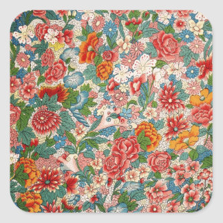 Floral chinese ornament Square Sticker