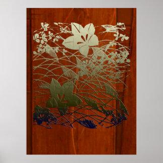 Floral Chirimen Poster