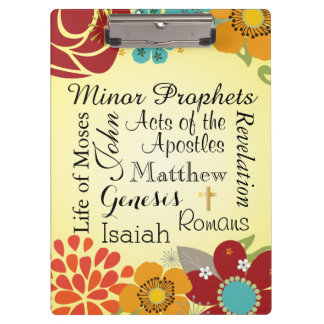 Floral Christian Books of the Bible Clipboards