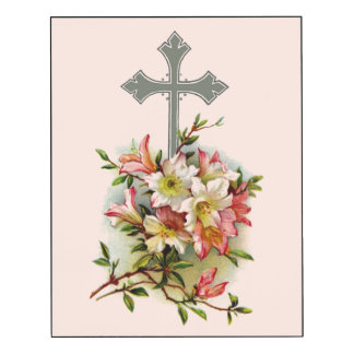 Floral Christian Cross Wood Wall Art