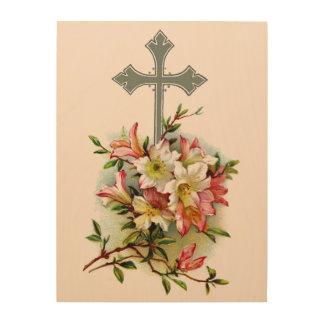 Floral Christian Cross Wood Wall Decor
