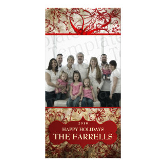 Floral Christmas Family Photo Greeting Card