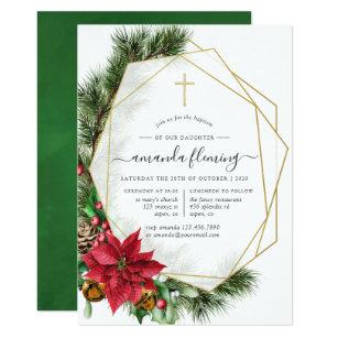 Christmas Christening.Floral Christmas Geometric Baptism Or Christening Invitation