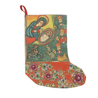 FLORAL CHRISTMAS PARCHMENT,ADORATION OF MAGI SMALL CHRISTMAS STOCKING
