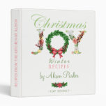Floral Christmas wreath JOY script recipes book 3 Ring Binder