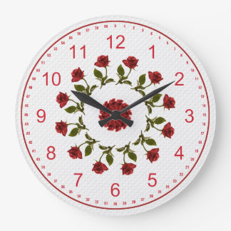 Floral Circle of Red Roses, White Lattice Pattern Large Clock