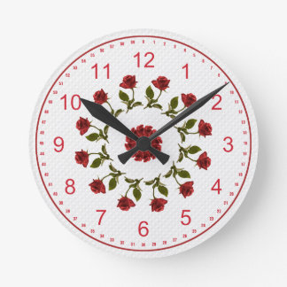 Floral Circle of Red Roses, White Lattice Pattern Round Clock
