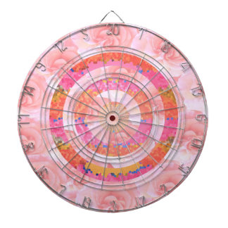 Floral Circles Pink -  Chinese Goodluck Charm Dartboard With Darts