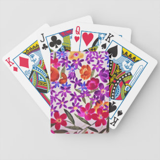 Floral cloth material bicycle playing cards