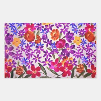 Floral cloth material rectangular sticker