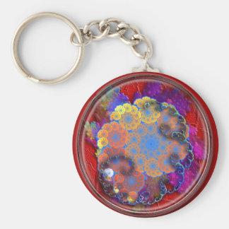 floral cloudburst basic round button keychain
