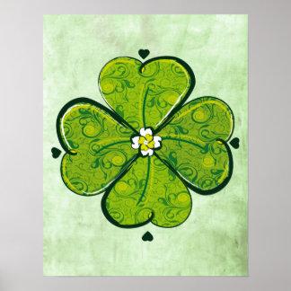 Floral clover print poster